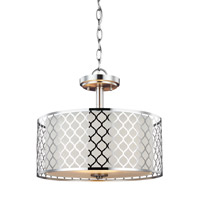 Sea Gull Lighting Jourdanton 2 Light Semi-Flush Convertible Pendant in Brushed Nickel with Satin Etched Diffuser and Faux Silk Fabric Shade 7715502BLE-962