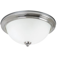 LED Ceiling LED 13 inch Chrome Flush Mount Ceiling Light in Satin Etched Glass