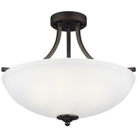 Sea Gull 7716503EN3-710 Geary 3 Light 19 inch Burnt Sienna Semi-Flush Convertible Pendant Ceiling Light