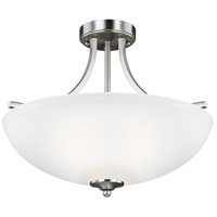 Geary 3 Light 19 inch Brushed Nickel Semi-Flush Convertible Pendant Ceiling Light