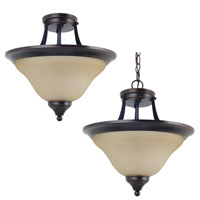 Brockton 2 Light 15 inch Burnt Sienna Semi-Flush Convertible Pendant Ceiling Light in Standard