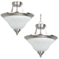 Sea Gull Lighting Brockton 2 Light Semi-Flush Convetable Pendant in Brushed Nickel 77174-962