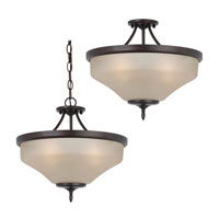 Sea Gull 77180-710 Montreal 3 Light 15 inch Burnt Sienna Semi-Flush Convertible Pendant Ceiling Light in Cafe Tint Glass, Standard photo thumbnail