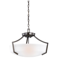 Sea Gull Lighting Hanford 3 Light Semi-Flush Convertible Pendant in Burnt Sienna with Satin Etched Glass 7724503-710