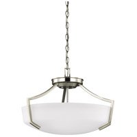 Sea Gull Lighting Hanford 3 Light Semi-Flush Convertible Pendant in Brushed Nickel with Satin Etched Glass 7724503-962