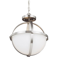 Sea Gull Lighting Alturas 2 Light Semi-Flush Convertible Pendant in Brushed Nickel with Etched White Inside Glass 7724602-962