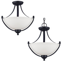 Uptown 2 Light 15 inch Blacksmith Semi-Flush Mount Ceiling Light in Fluorescent