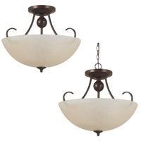 Sea Gull Lighting Lemont Fluorescent 3 Light Semi-Flush Convertible Pendant in Burnt Sienna 77316BLE-710