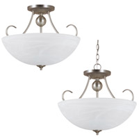 Lemont 3 Light 17 inch Antique Brushed Nickel Semi-Flush Convertible Pendant Ceiling Light in Fluorescent