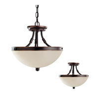 Warwick 2 Light 14 inch Autumn Bronze Semi-Flush Convertible Pendant Ceiling Light