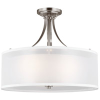 Sea Gull 7737303EN3-962 Elmwood Park 3 Light 19 inch Brushed Nickel Semi-Flush Mount Ceiling Light