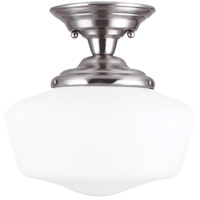 Academy 1 Light 12 inch Brushed Nickel Semi-Flush Mount Ceiling Light in Standard
