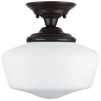 Academy 1 Light 12 inch Heirloom Bronze Semi-Flush Mount Ceiling Light in Fluorescent