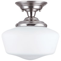 Academy 1 Light 12 inch Brushed Nickel Semi-Flush Mount Ceiling Light in Fluorescent