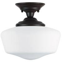Academy 1 Light 13 inch Heirloom Bronze Semi-Flush Mount Ceiling Light in Fluorescent