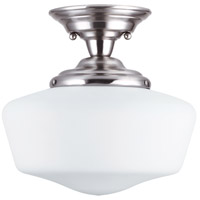 Academy 1 Light 13 inch Brushed Nickel Semi-Flush Mount Ceiling Light in Fluorescent