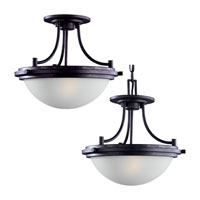 Sea Gull 77660-839 Winnetka 2 Light 14 inch Blacksmith Pendant Convertible Ceiling Light in Satin Etched Glass