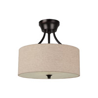Sea Gull 77952BLE-710 Stirling 2 Light 14 inch Burnt Sienna Semi-Flush Convertible Pendant Ceiling Light in Beige Linen Fabric, Fluorescent alternative photo thumbnail