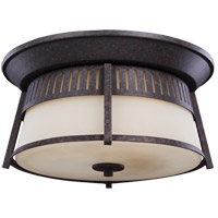 Sea Gull Hamilton Heights 3 Light Outdoor Flush Mount in Oxford Bronze 7811703-746