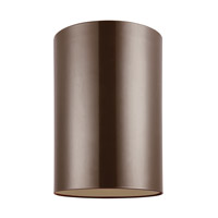 Cylinders 1 Light 6 inch Bronze Outdoor Flush Mount