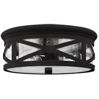 Lakeview 2 Light 13 inch Black Outdoor Flush Mount in Clear Seeded Glass