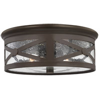 Lakeview 2 Light 13 inch Antique Bronze Outdoor Flush Mount in Clear Seeded Glass