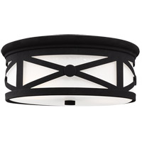 Lakeview 2 Light 13 inch Black Outdoor Flush Mount in Etched Seeded Glass