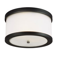 Sea Gull Bucktown 2 Light Outdoor Flush Mount in Black 7822402BLE-12