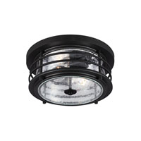 Sea Gull Sauganash 2 Light Outdoor Flush Mount in Black 7824402-12