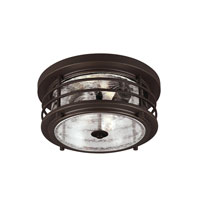 Sauganash 2 Light 12 inch Antique Bronze Outdoor Flush Mount in Fluorescent