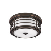 Sea Gull Lighting Sauganash 2 Light Outdoor Ceiling Flush Mount in Antique Bronze with Etched Seeded Glass 7824452-71