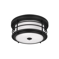 Sea Gull Lighting Sauganash 2 Light Outdoor Ceiling Flush Mount in Black with Etched Seeded Glass 7824452BLE-12