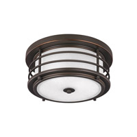 Sea Gull Lighting Sauganash LED Outdoor Ceiling Flush Mount in Antique Bronze with Etched Seeded Glass 7824491S-71