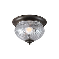 Garfield Park 1 Light 11 inch Burled Iron Outdoor Flush Mount in Fluorescent