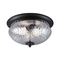Sea Gull Garfield Park 3 Light Outdoor Flush Mount in Black 7826403-12