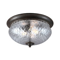 Garfield Park 3 Light 15 inch Burled Iron Outdoor Flush Mount in Fluorescent