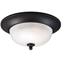 Sea Gull Humboldt Park 1 Light Outdoor Flush Mount in Black 7827401-12