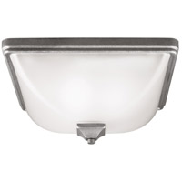 Irving Park 3 Light 15 inch Weathered Pewter Outdoor Flush Mount in Fluorescent