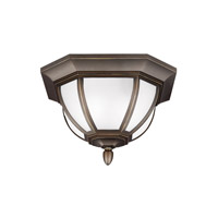 Sea Gull Lighting Childress 2 Light Outdoor Ceiling Flush Mount in Antique Bronze with Satin Etched Glass 7836302BLE-71