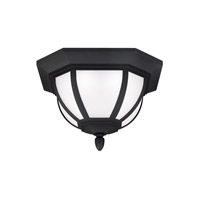 Sea Gull Lighting Childress LED Outdoor Ceiling Flush Mount in Black with Satin Etched Glass 7836391S-12