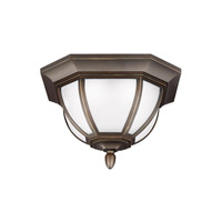 Sea Gull Lighting Childress LED Outdoor Ceiling Flush Mount in Antique Bronze with Satin Etched Glass 7836391S-71