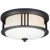 Crowell 2 Light 14 inch Antique Bronze Outdoor Ceiling Flush Mount in Standard