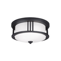 Sea Gull Lighting Crowell 2 Light Outdoor Ceiling Flush Mount in Black with Satin Etched Glass 7847902BLE-12