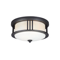 Sea Gull Lighting Crowell 2 Light Outdoor Ceiling Flush Mount in Antique Bronze with Creme Parchment Glass 7847902BLE-71
