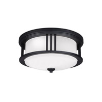 Sea Gull Lighting Crowell LED Outdoor Ceiling Flush Mount in Black with Satin Etched Glass 7847991S-12