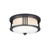 Sea Gull Lighting Crowell LED Outdoor Ceiling Flush Mount in Antique Bronze with Creme Parchment Glass 7847991S-71