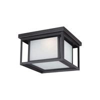 Sea Gull Lighting Hunnington LED Outdoor Ceiling Flush Mount in Black with Etched Seeded Glass 7903991S-12