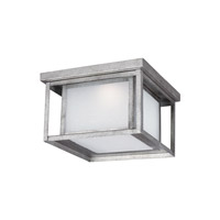 Sea Gull Lighting Hunnington LED Outdoor Ceiling Flush Mount in Weathered Pewter with Etched Seeded Glass 7903991S-57