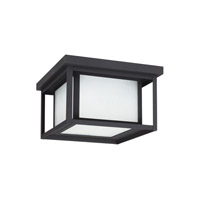 Sea Gull 79039EN3-12 Hunnington 2 Light 10 inch Black Outdoor Flush Mount