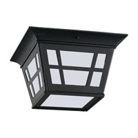 Sea Gull 79131BLE-12 Herrington 1 Light 11 inch Black Outdoor Ceiling Fixture in Energy Efficient